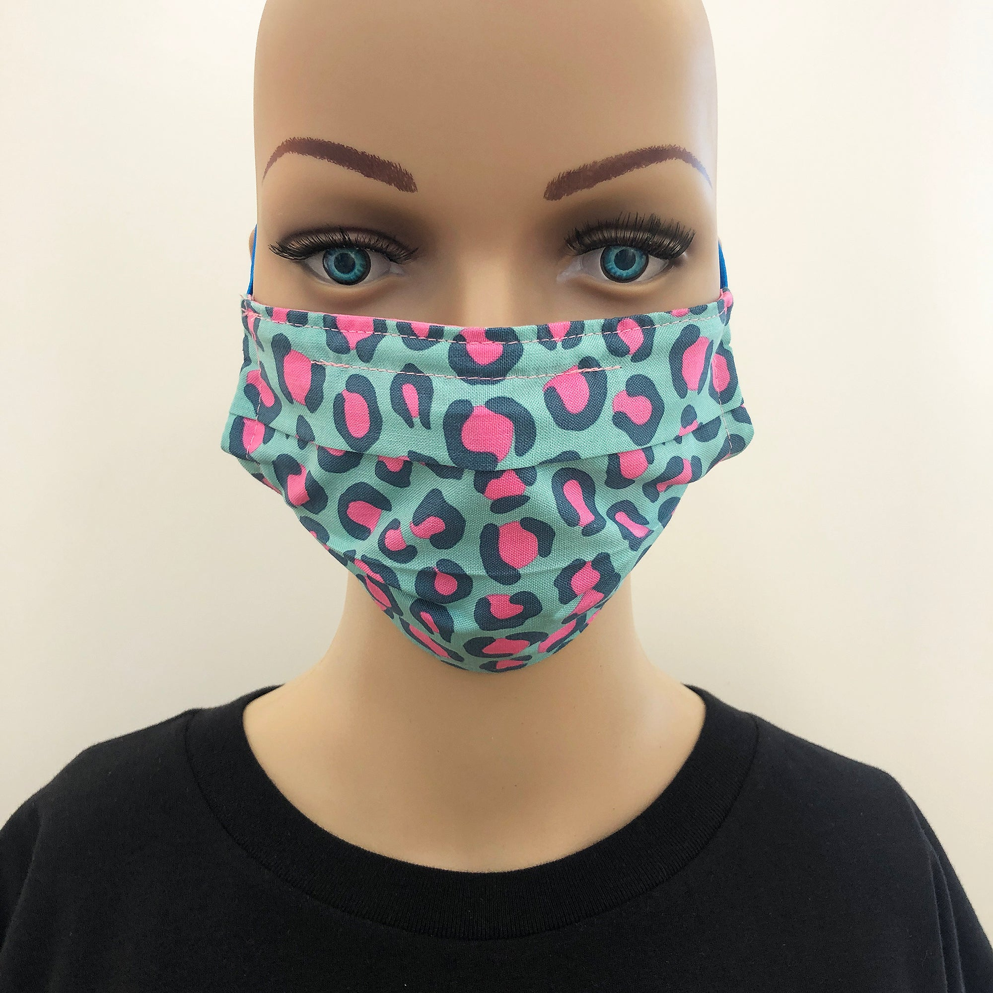 Face mask in blue and pink leopard print cotton fabric - Inspired