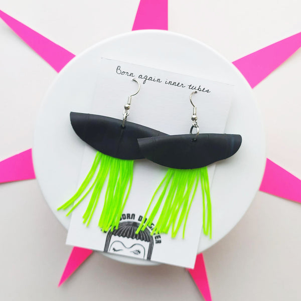 Neon tassel dangle earring