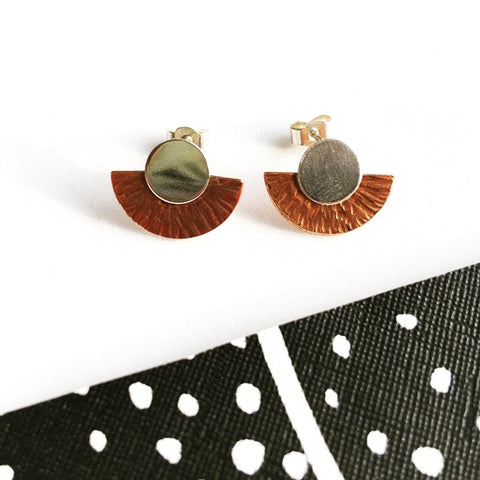 Silver and copper geometric stud earrings