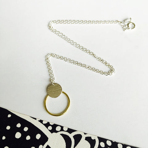 Silver and brass hoop necklace