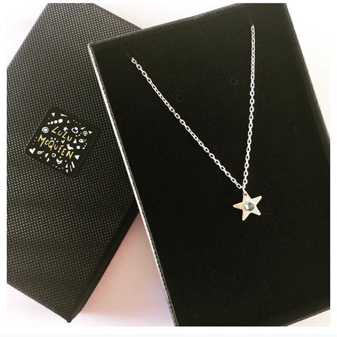 Silver star and crystal necklace