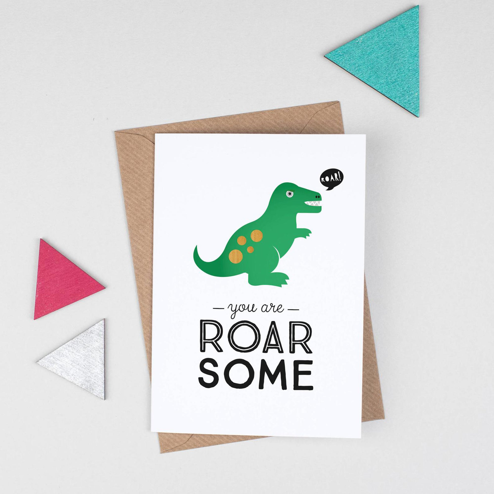Roarsome dinosaur greetings card - Inspired