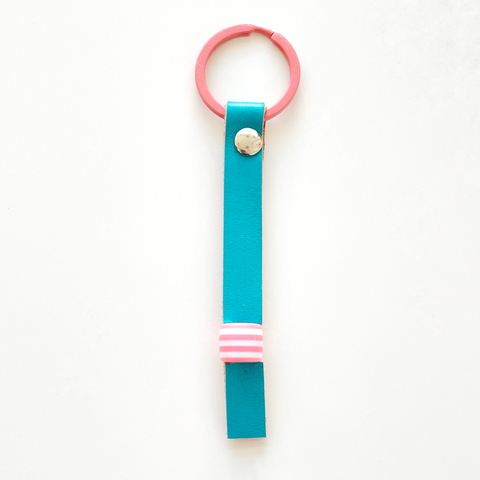 Mint painted & pink stripe bead keyring