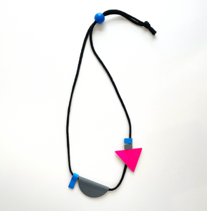 Yellow, neon pink, grey & blue leather shapes necklace