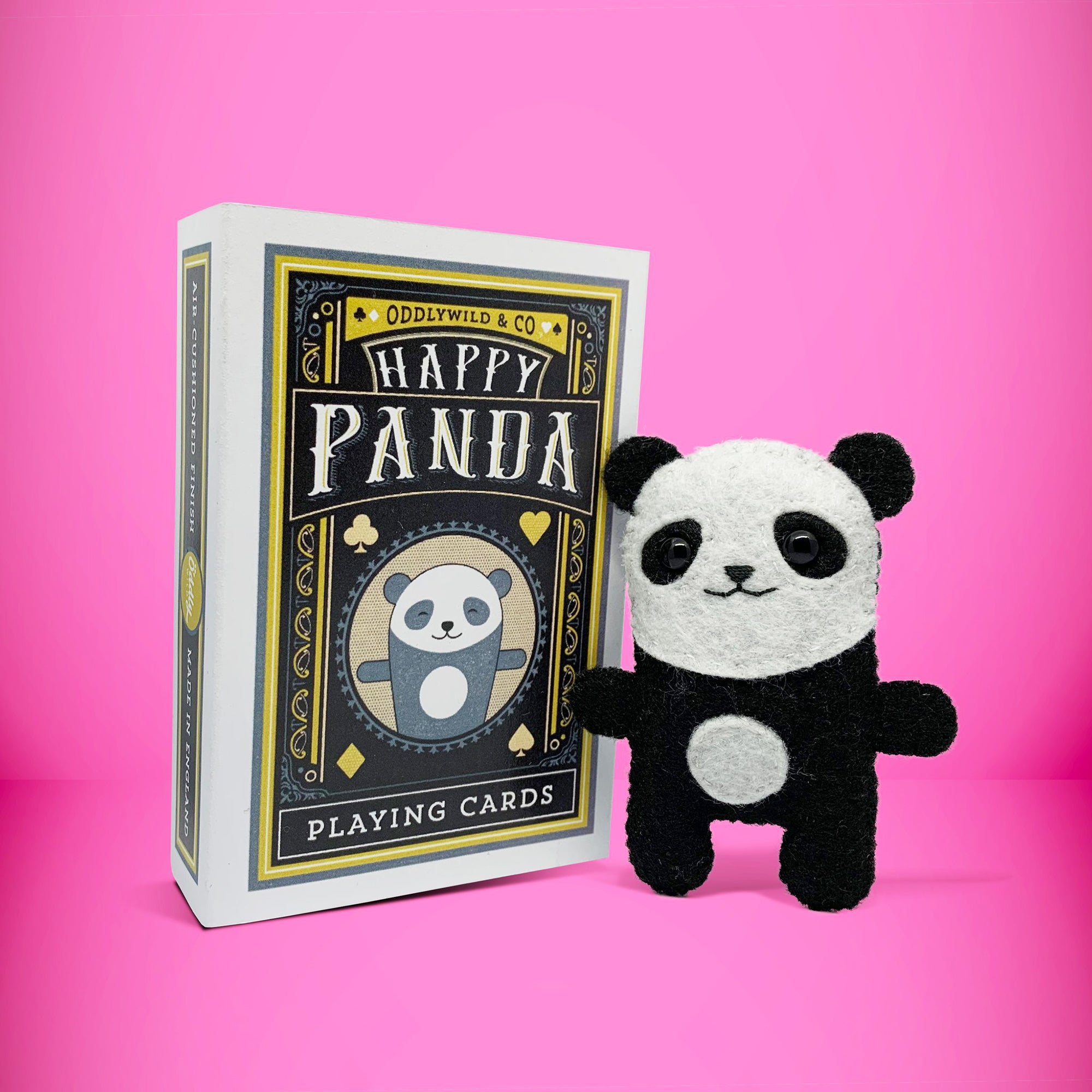 Felt panda in a Matchbox
