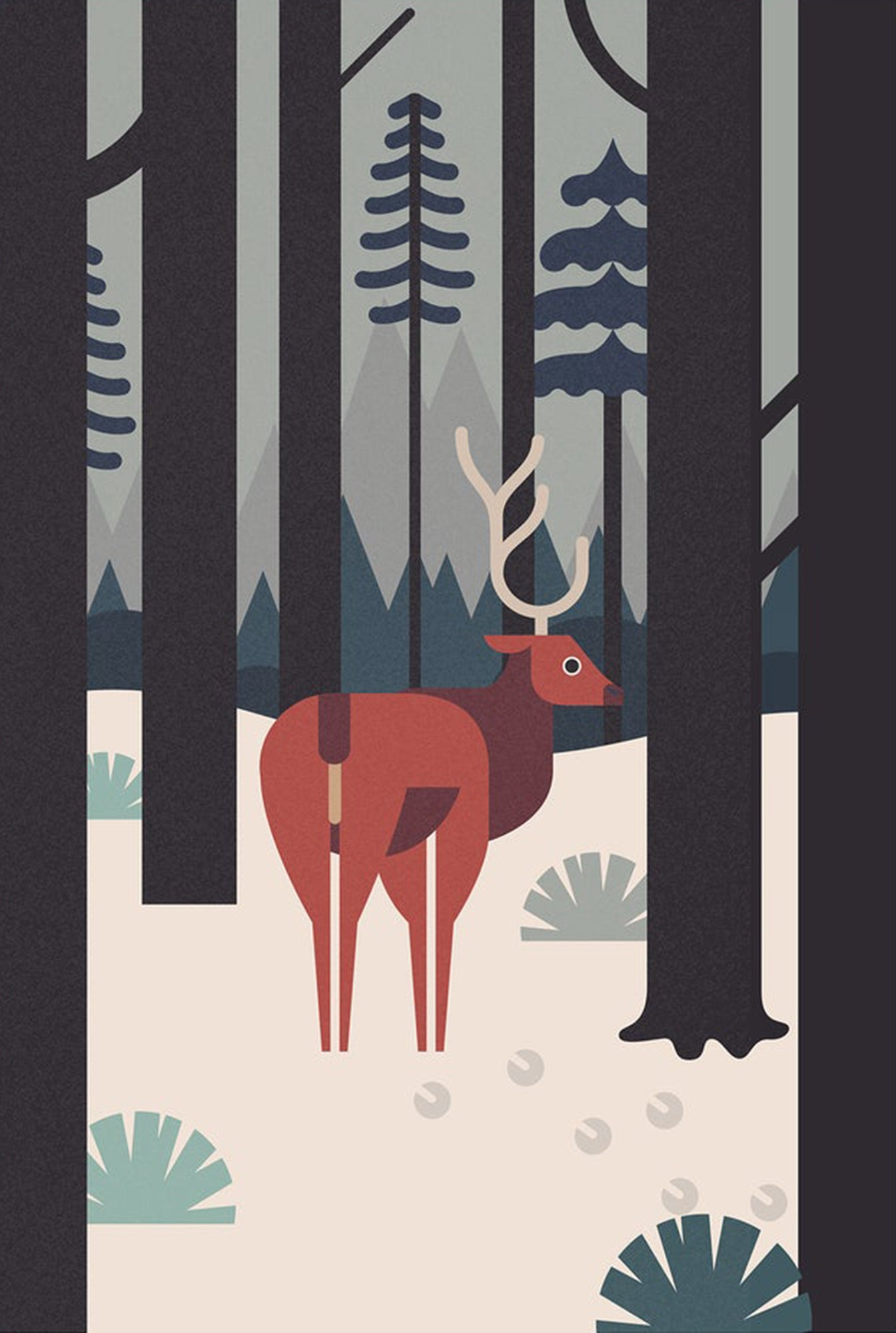 Deer greetings card - Inspired