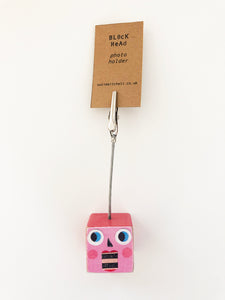 Block Head photo holder - small pink & red