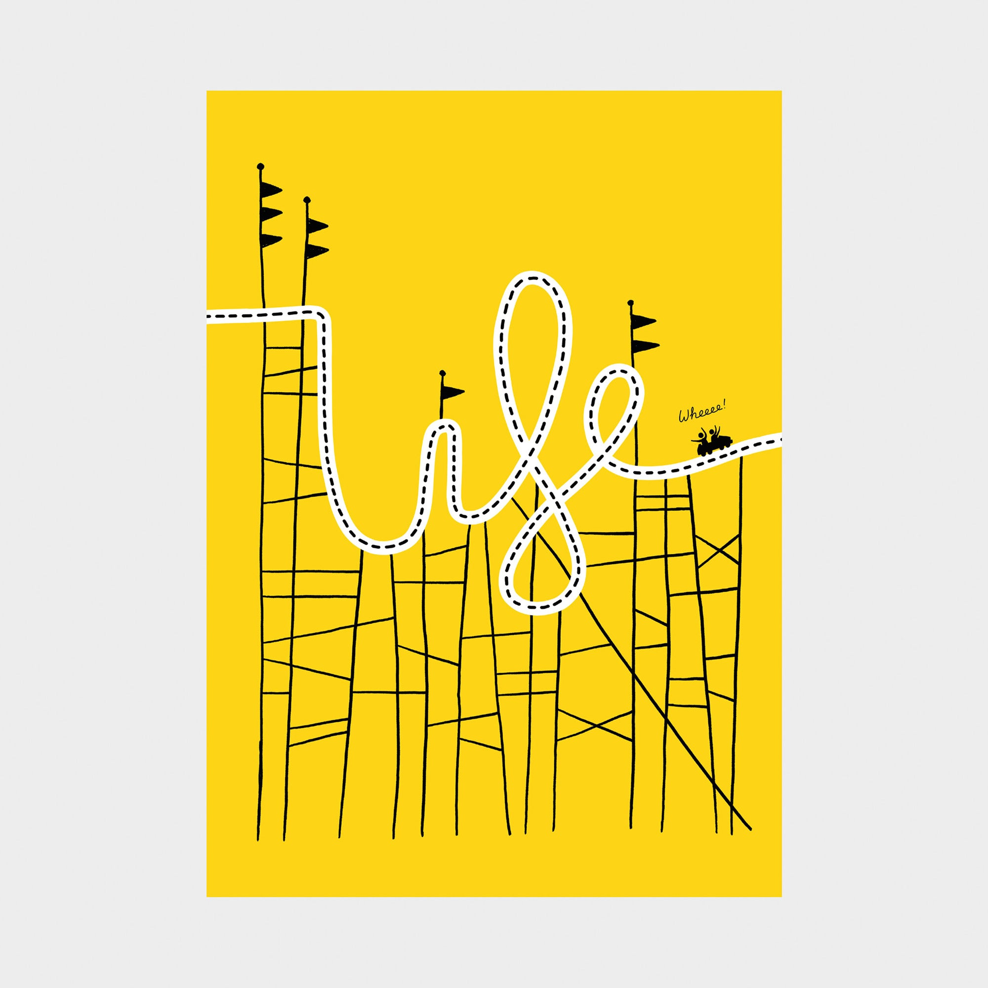 Life is a rollercoaster greetings card - Inspired