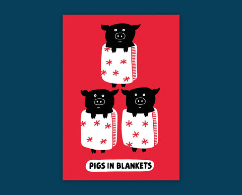 Pigs in Blankets Christmas card - Inspired