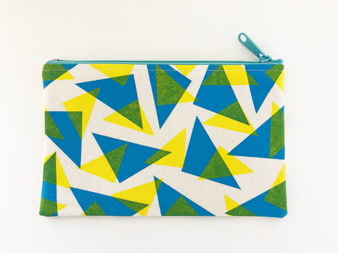 Blue and yellow triangle screen printed pouch