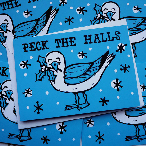 Peck The Halls Christmas card