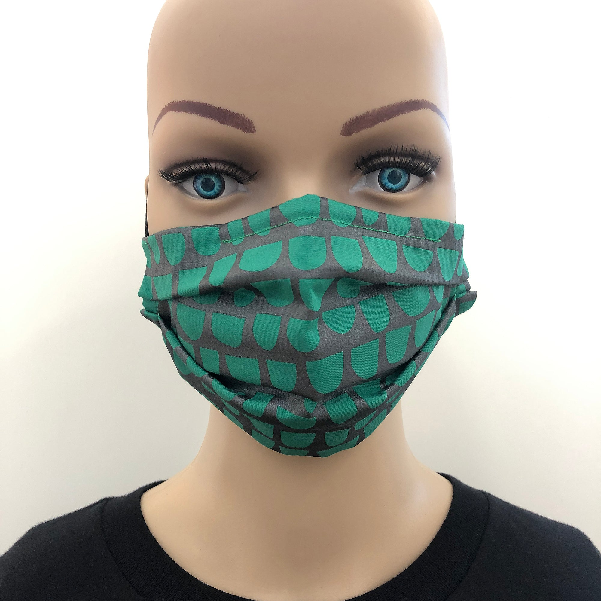 Face mask in sparkly black and green print - Inspired