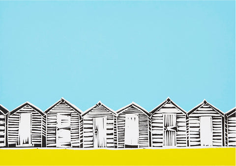 Beach Huts Greetings Card - Inspired
