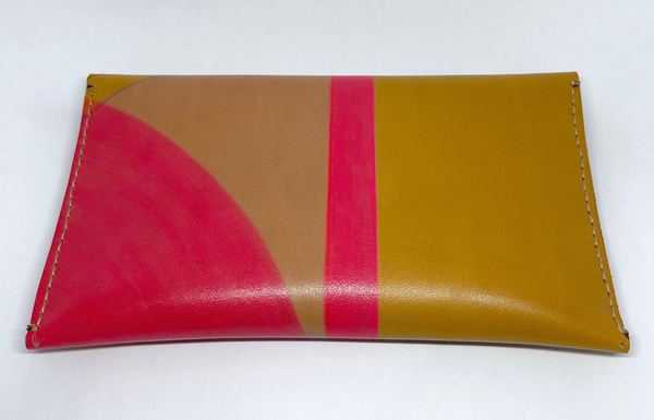 Large hand painted blue, pink & yellow leather purse - Inspired