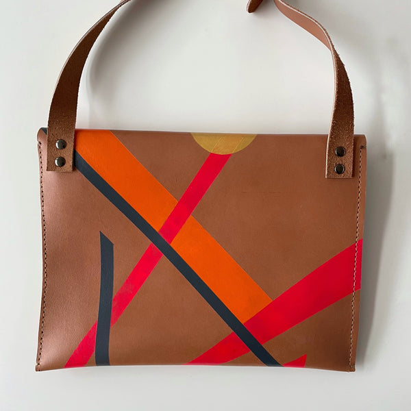 Hand painted Pink, grey, orange & gold leather hand bag