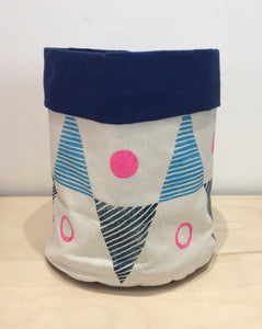 Small hand printed pink, navy & blue storage bag