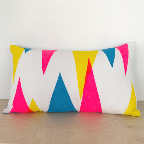 Blue, pink & yellow triangles 50x30cm cushion cover