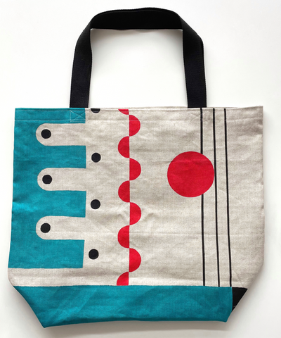 Graphic red & teal design large tote bag