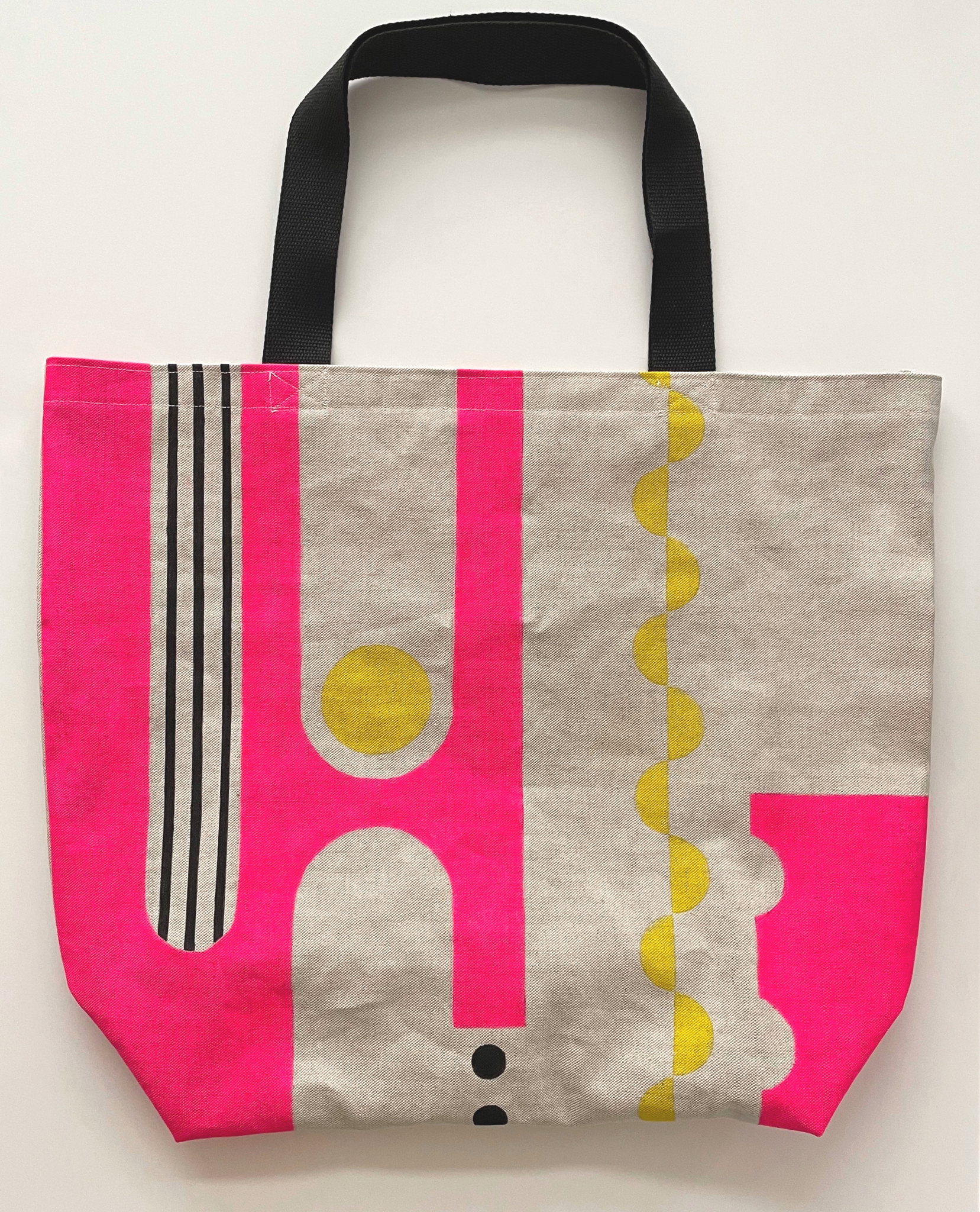 Graphic pink & yellow design large tote bag