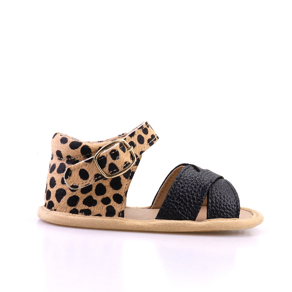 sandals-Black Leopard Print Leather