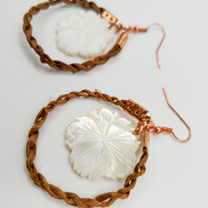 Flower Shell and Cedar Rope earrings