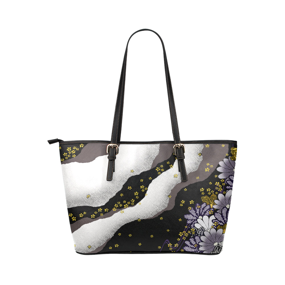 Purple Flower - Leather Tote Bag