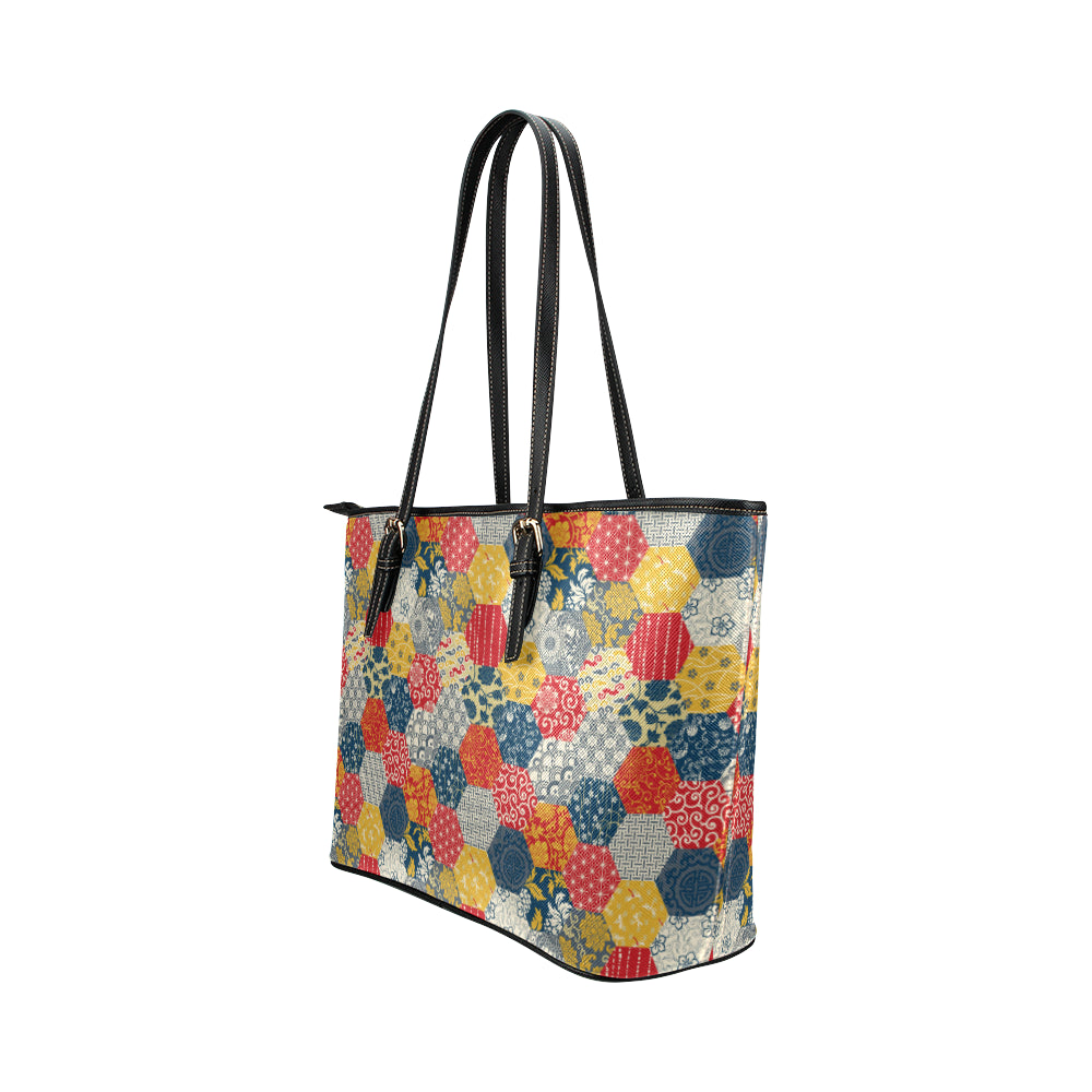 Japaneses Pattern - Leather Tote Bag