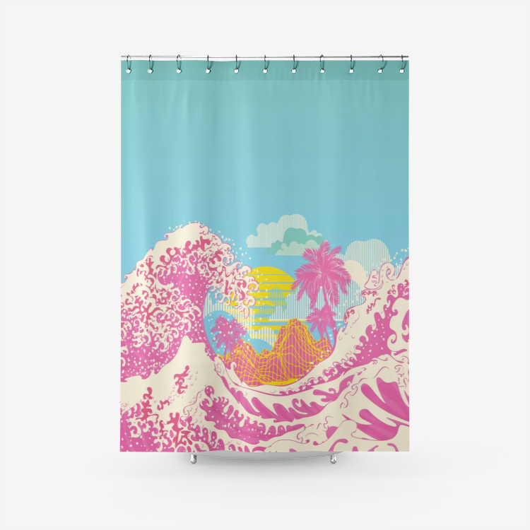 Wave (Pink) - Shower Curtain