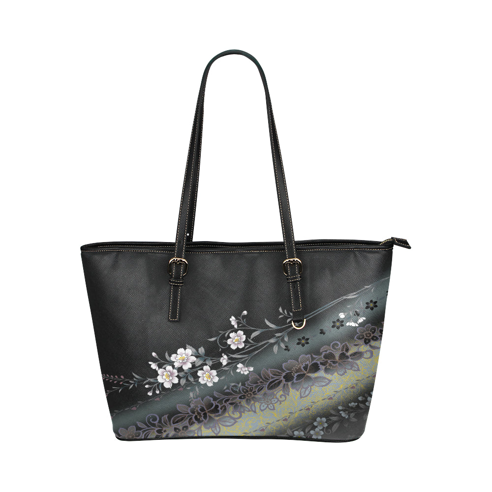 Shadow Flower - Leather Tote Bag