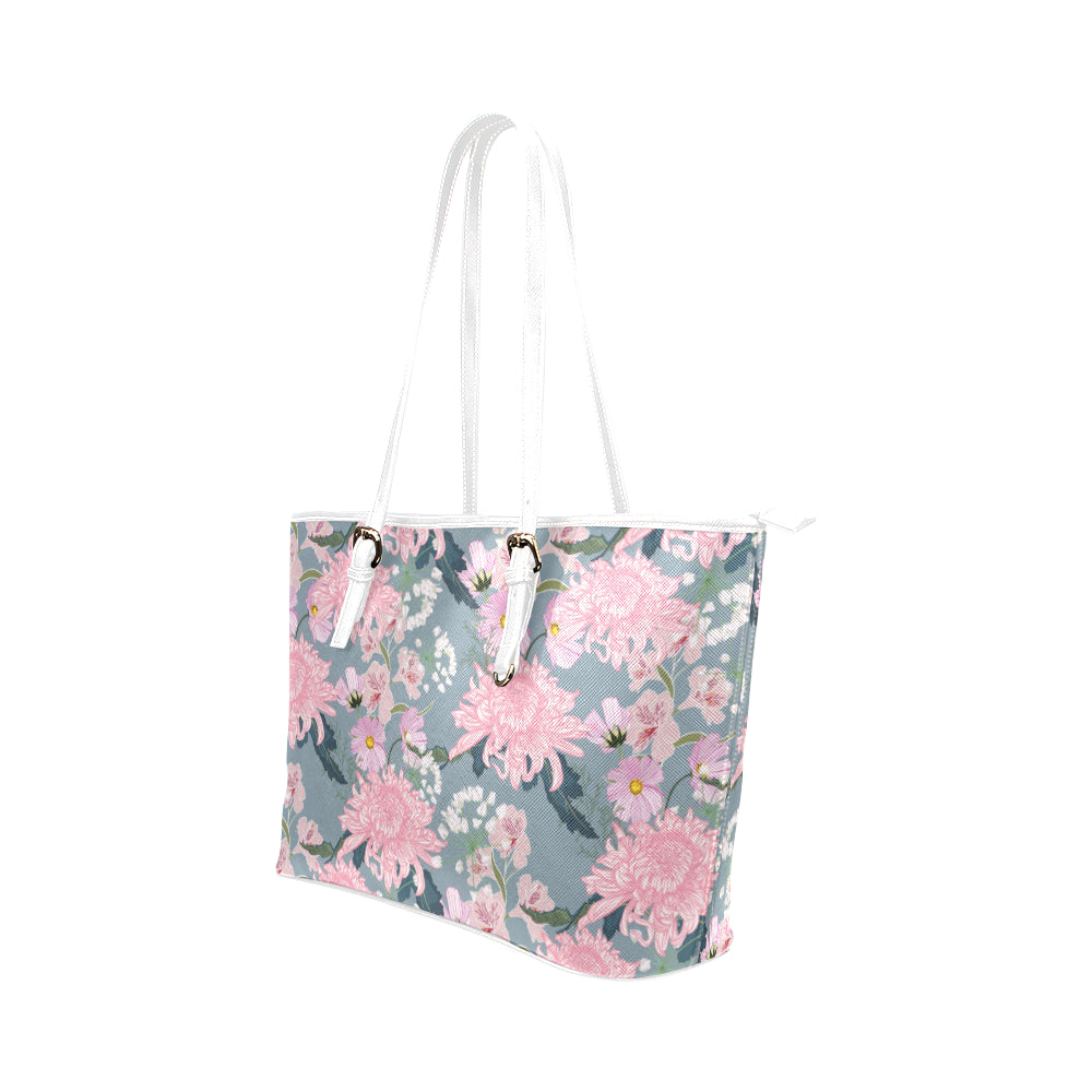 Pink Flower - Leather Tote Bag