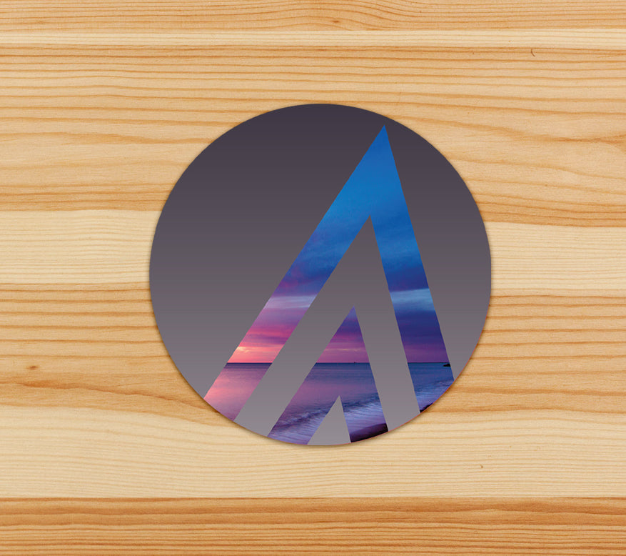 Beach Sunrise Ascend Icon on Midnight Sunset - Vinyl Sticker