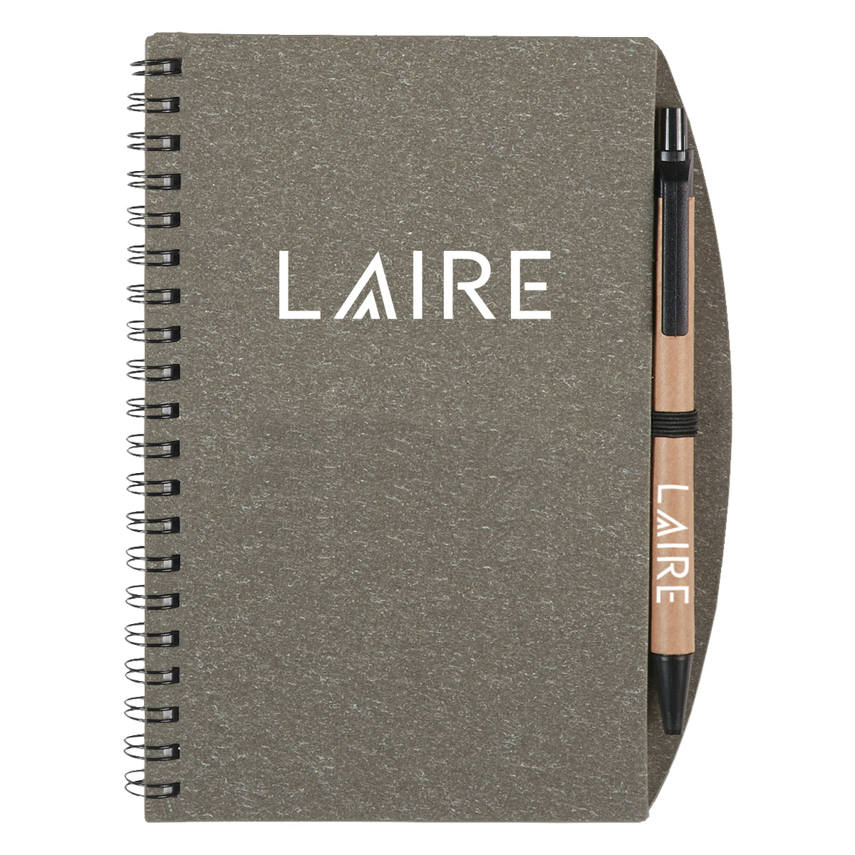 Eco-Inspired Spiral Notebook and Pen - Gray