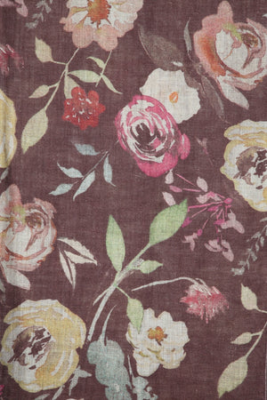 Load image into Gallery viewer, Sepia Printed Linen Scarf/Stole