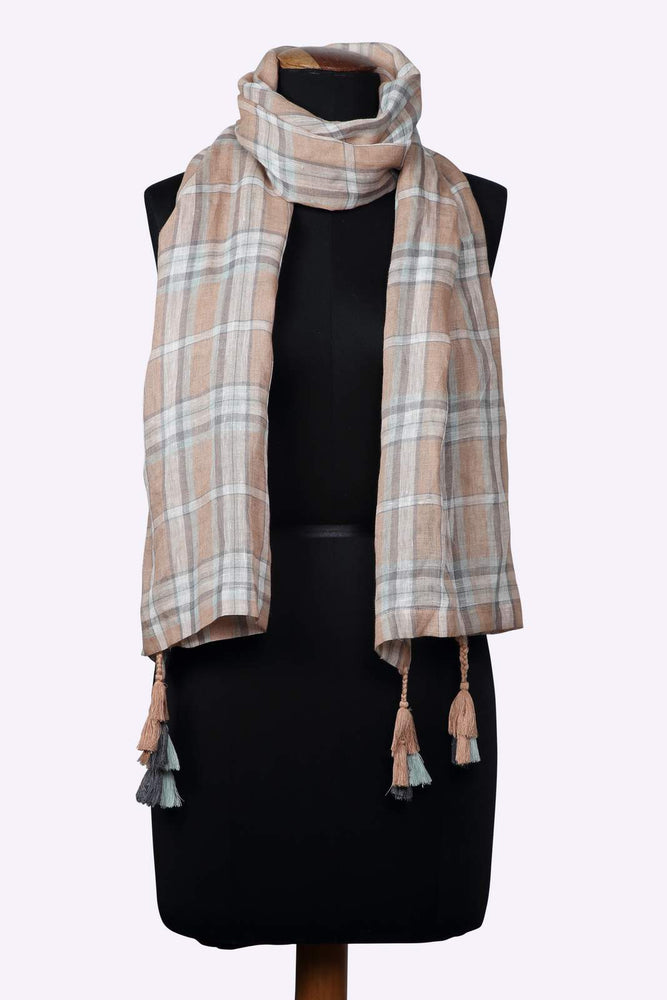 Peach Checkered Linen Stole/Scarf