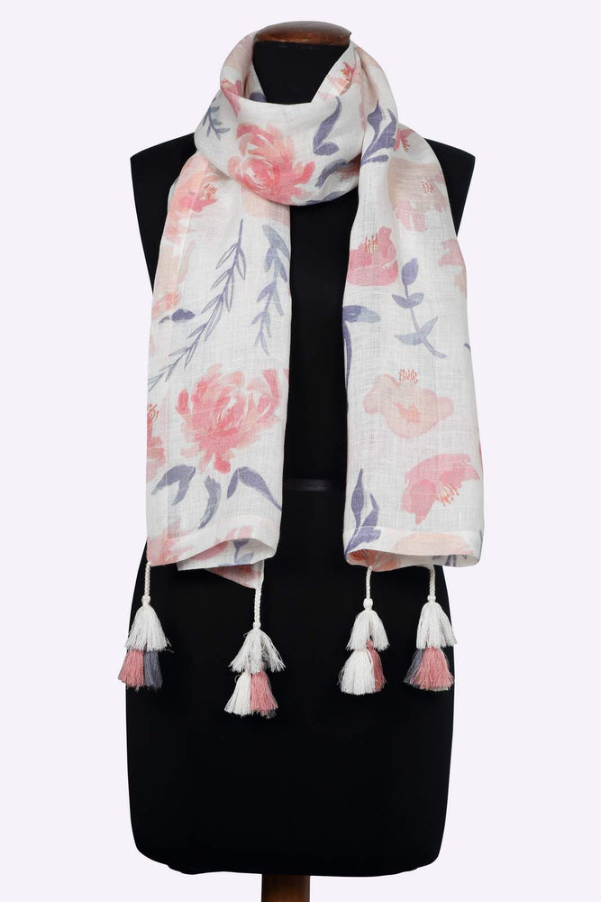 Blush Floral Printed Linen Stole