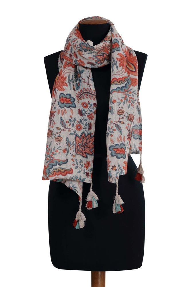 Apricot Printed Linen Stole