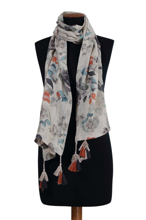 Load image into Gallery viewer, Cerulean Printed Linen Scarf/Stole