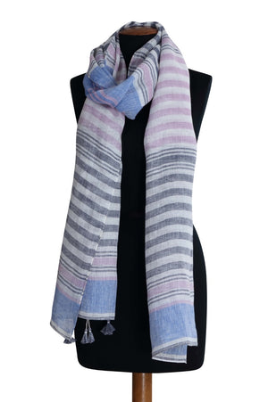 Load image into Gallery viewer, Lilac Uneven Stripe Linen Scarf