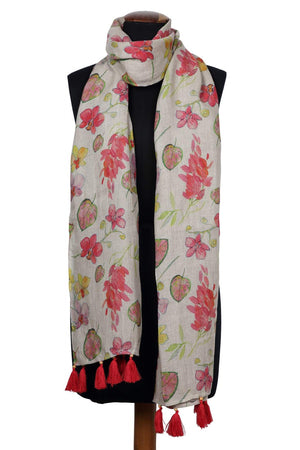 Red Maple Printed Linen Scarf