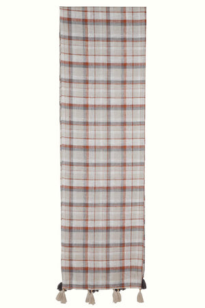 Rust Bleach Checkered Linen Scarf