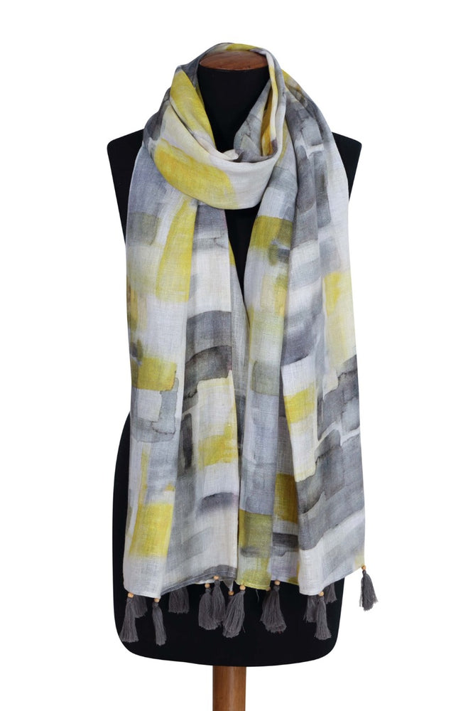 Limestone Printed Linen Scarf