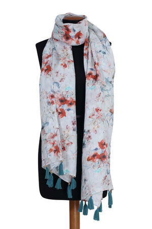 Load image into Gallery viewer, Cherry Blossom Printed Linen Scarf