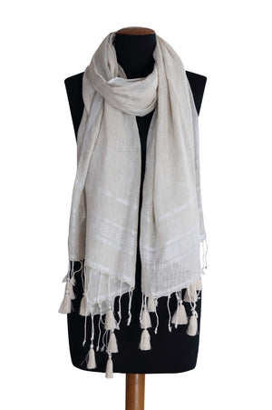 Linen Scarf with Lurex Border