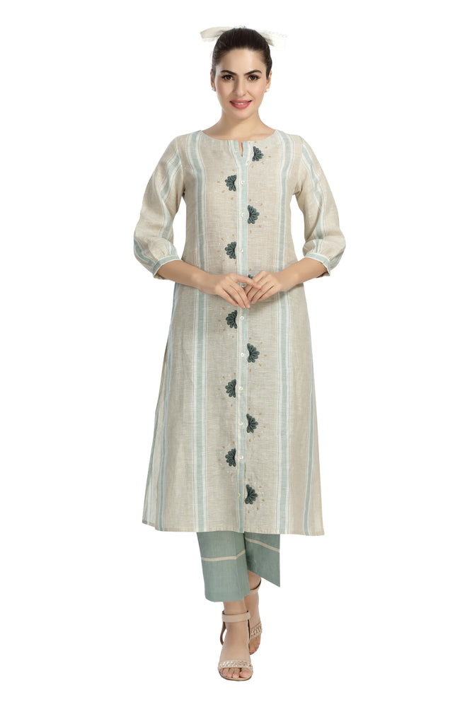 Woven Striped Embroidered Kurta