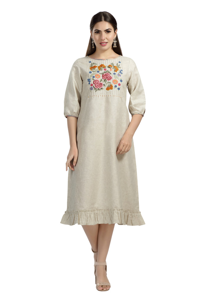 Natural Embroidered Dress with Ruffles