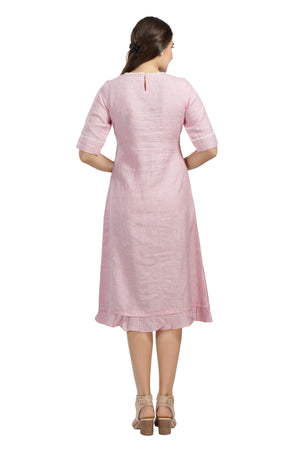 Pink Embroidered Linen Dress