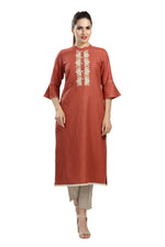 Rust Tunic with Placket Embroidery