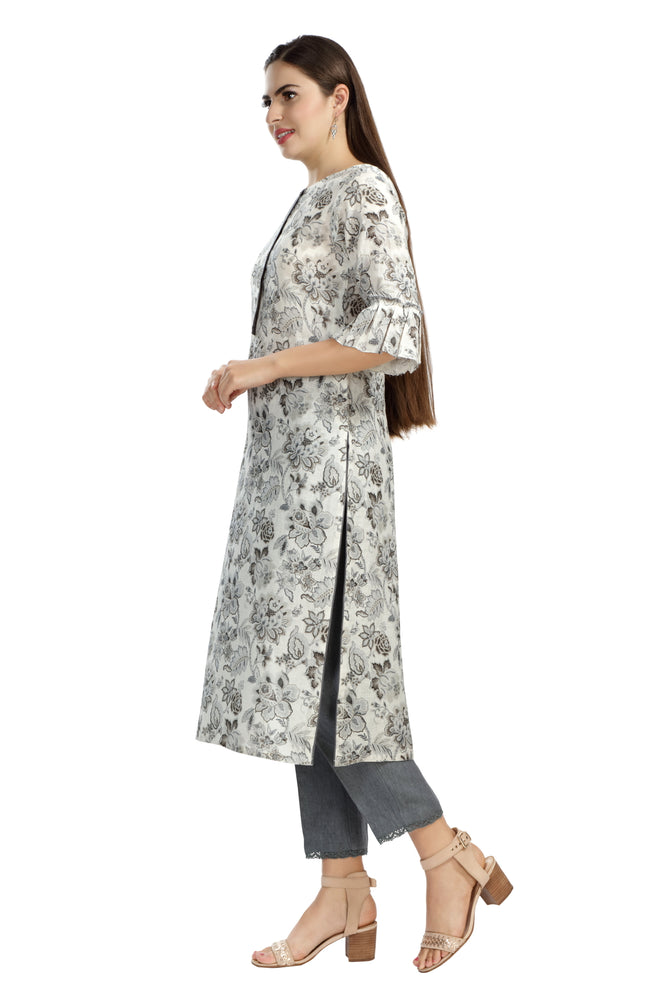 Grey Floral Printed Tunic with Front Placket