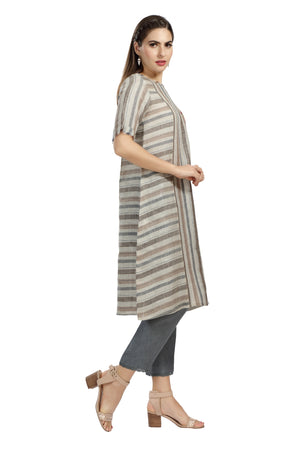 Load image into Gallery viewer, Woven Stripe & Embroidery Tunic