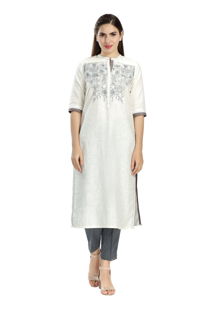 White & Blue Embroidered Tunic